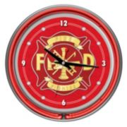 "Four Aces ""Fire Fighter"" Neon Wall Clock"
