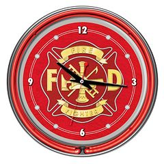 Four Aces 'Fire Fighter' Neon Wall Clock