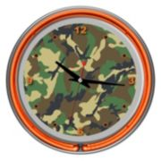 Hunt Camouflage Double Ring Neon Wall Clock