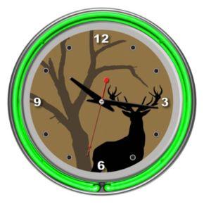 Hunt Deer Double Ring Neon Wall Clock