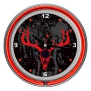 Hunt Skull Double Ring Neon Wall Clock