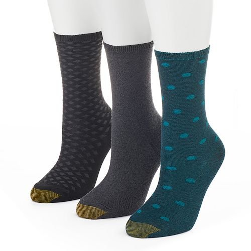 Women's GOLDTOE 3-pk. Dots & Squares Crew Socks