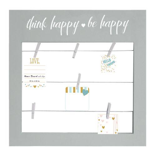 """Parisian Home """"Think Happy, Be Happy"""" Photo Clip Wall Decor"""