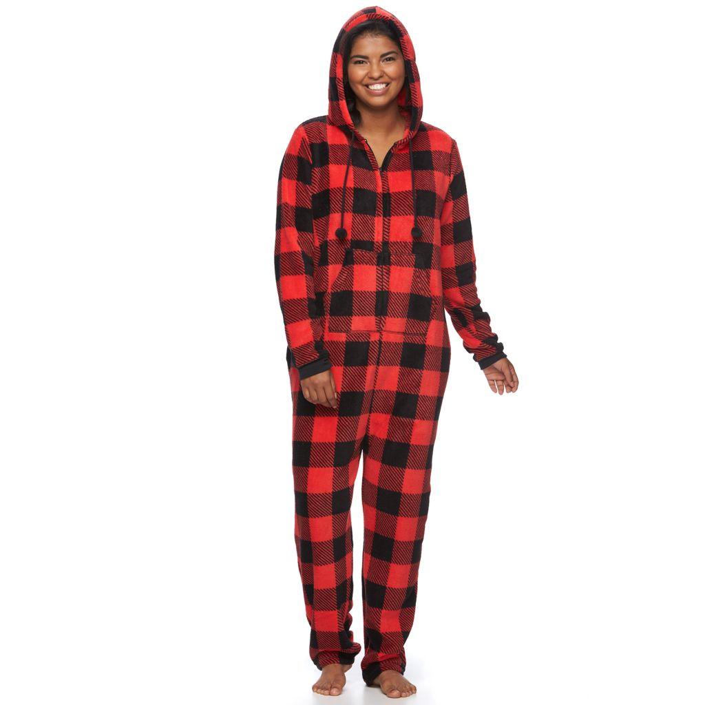 Plus Size SO® Pajamas: Plush Hooded One-Piece Pajamas