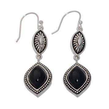 Napier® Jet & Silver Tone Pebicone Drop Earrings
