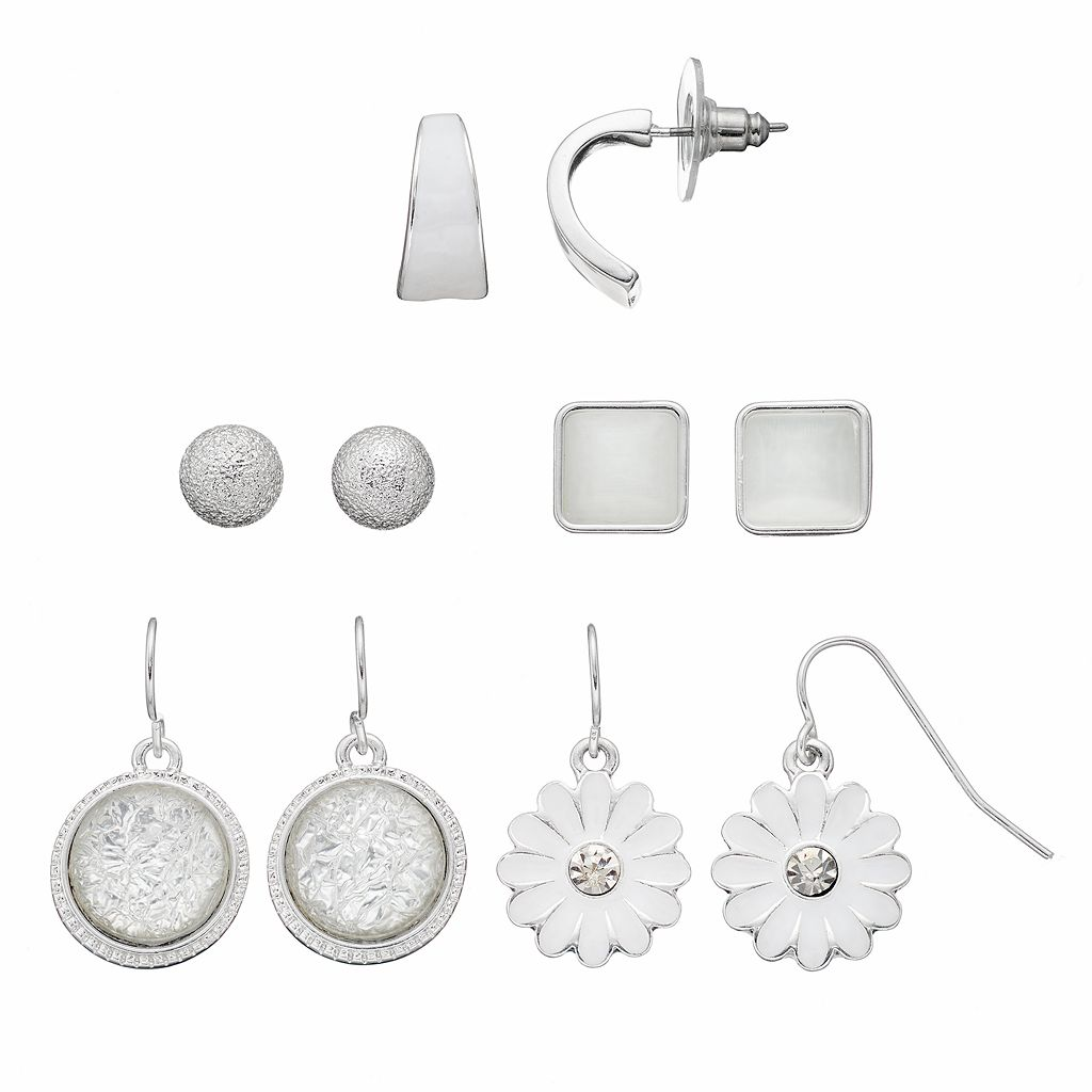 White Flower, Circle & Square Earring Set