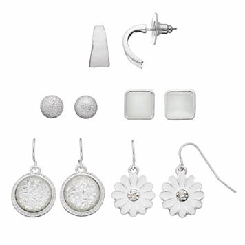 White Flower, Circle & Square Earring Set