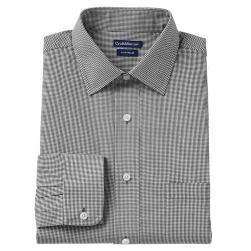 Men's Croft & Barrow® Slim-Fit Checked Broadcloth Dress Shirt