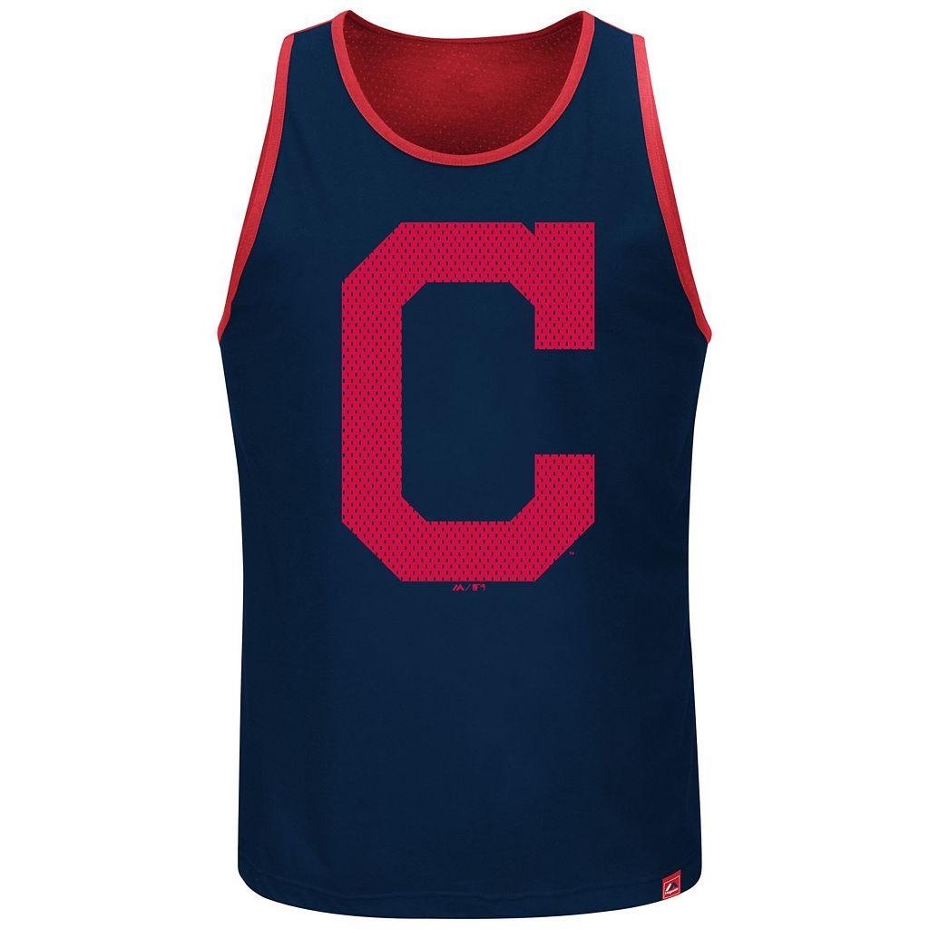 Big & Tall Majestic Cleveland Indians All Last Season Jersey Tank