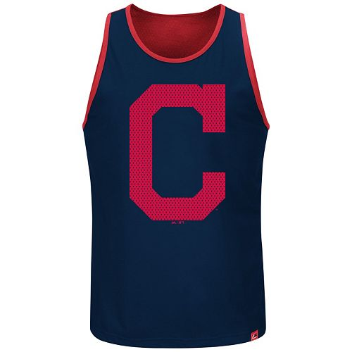 Big & Tall Majestic Cleveland Indians All Last Season Jersey Tank