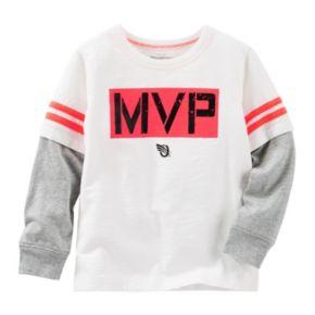 "Boys 4-8 OshKosh B'gosh® ""MVP"" Mock-Layered Long Sleeve Active Tee"