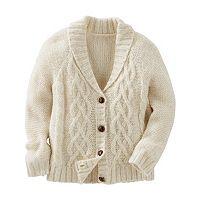 Toddler Girl OshKosh B'gosh® Sparkle Cable-Knit Shawl Collar Cardigan