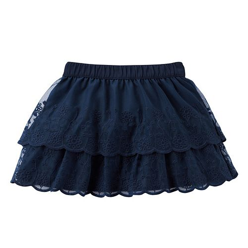 Girls 4-8 Carter's Tiered Mesh Lace Skirt