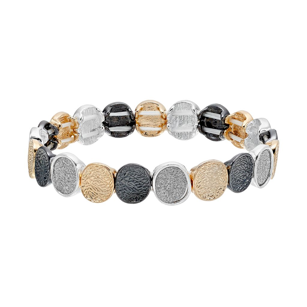 Tri Tone Textured Circle Stretch Bracelet