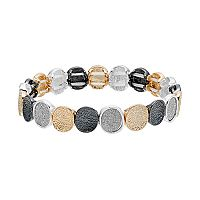 Tri Tone Textured Circle Stretch Bracelet