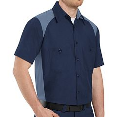 Men's Red Kap Classic-Fit Motorsports Colorblock Button-Down Shirt