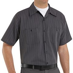 Men's Red Kap Classic-Fit Striped Button-Down Work Shirt