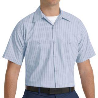 Men's Red Kap Classic-Fit Striped Button-Down Work Shirt