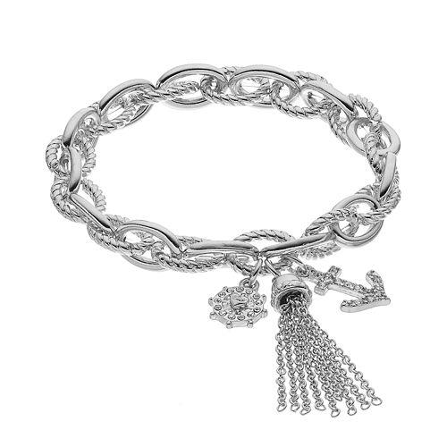 Juicy Couture Helm, Anchor & Tassel Charm Stretch Bracelet