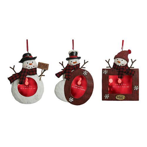 Set Of 3 Snowman Ornament Frames