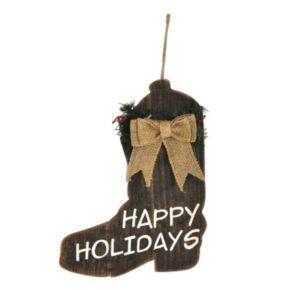 "St. Nicholas Square® ""Happy Holidays"" Wood Cowboy Boot Christmas Ornament"