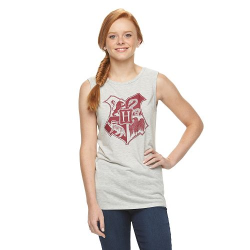 23400558a0483 Juniors  Harry Potter Hogwarts Crest Graphic Muscle Tee
