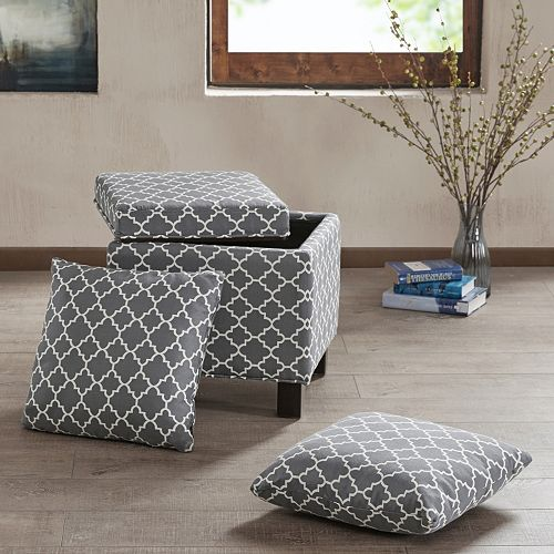 Madison Park Shelley Square Storage Ottoman 3-piece Set
