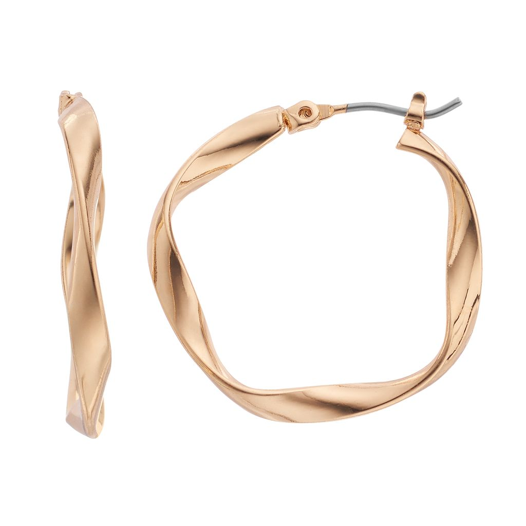 Nickel Free Wavy Hoop Earrings