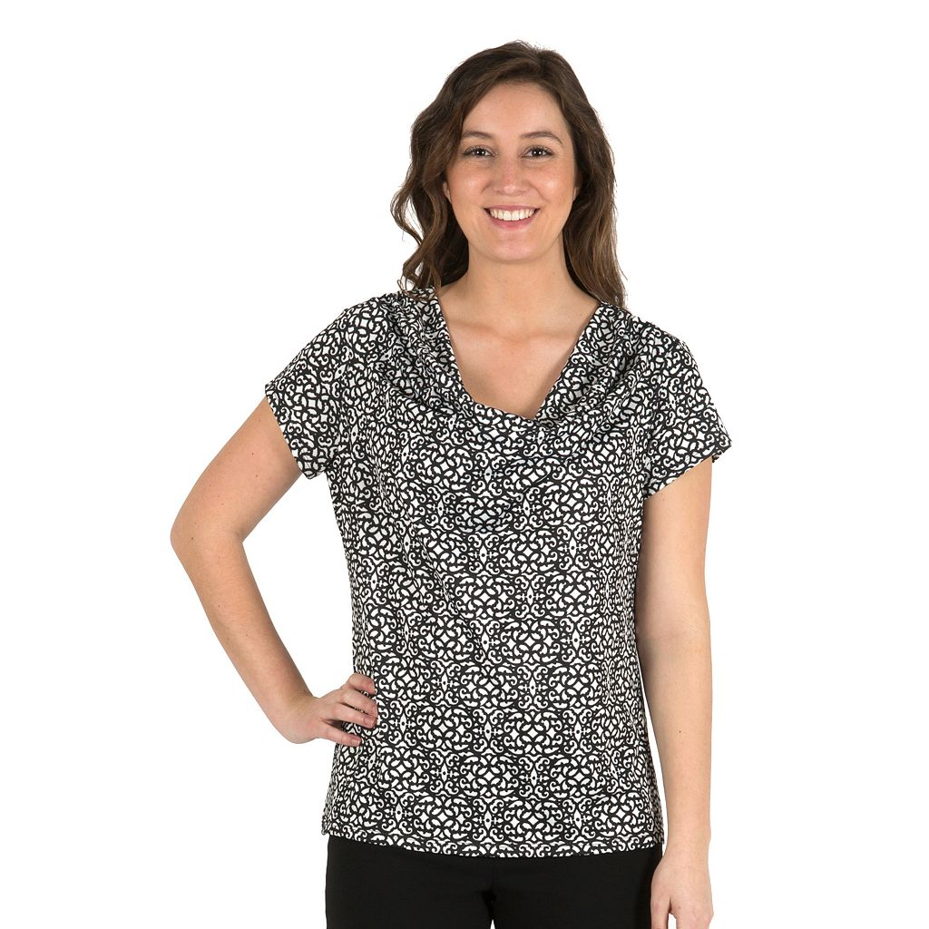Women's Larry Levine Cowlneck Top
