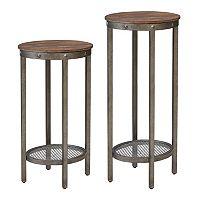 INK+IVY Sheridan Oval Pedestal End Table 2-piece Set