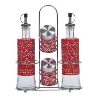 PureLife 5-pc. Red Filigree Condiment Set