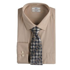 Big & Tall Croft & Barrow® Regular-Fit Stretch Collar Dress Shirt and Patterned Tie Boxed Set