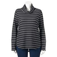 Plus Size Dana Buchman Striped Textured High-Low Tunic