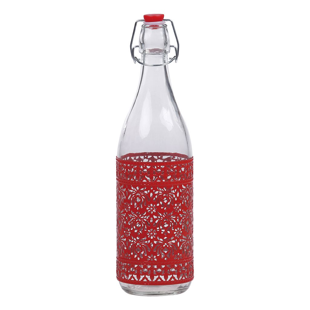 PureLife Red Filigree Airtight Glass Bottle