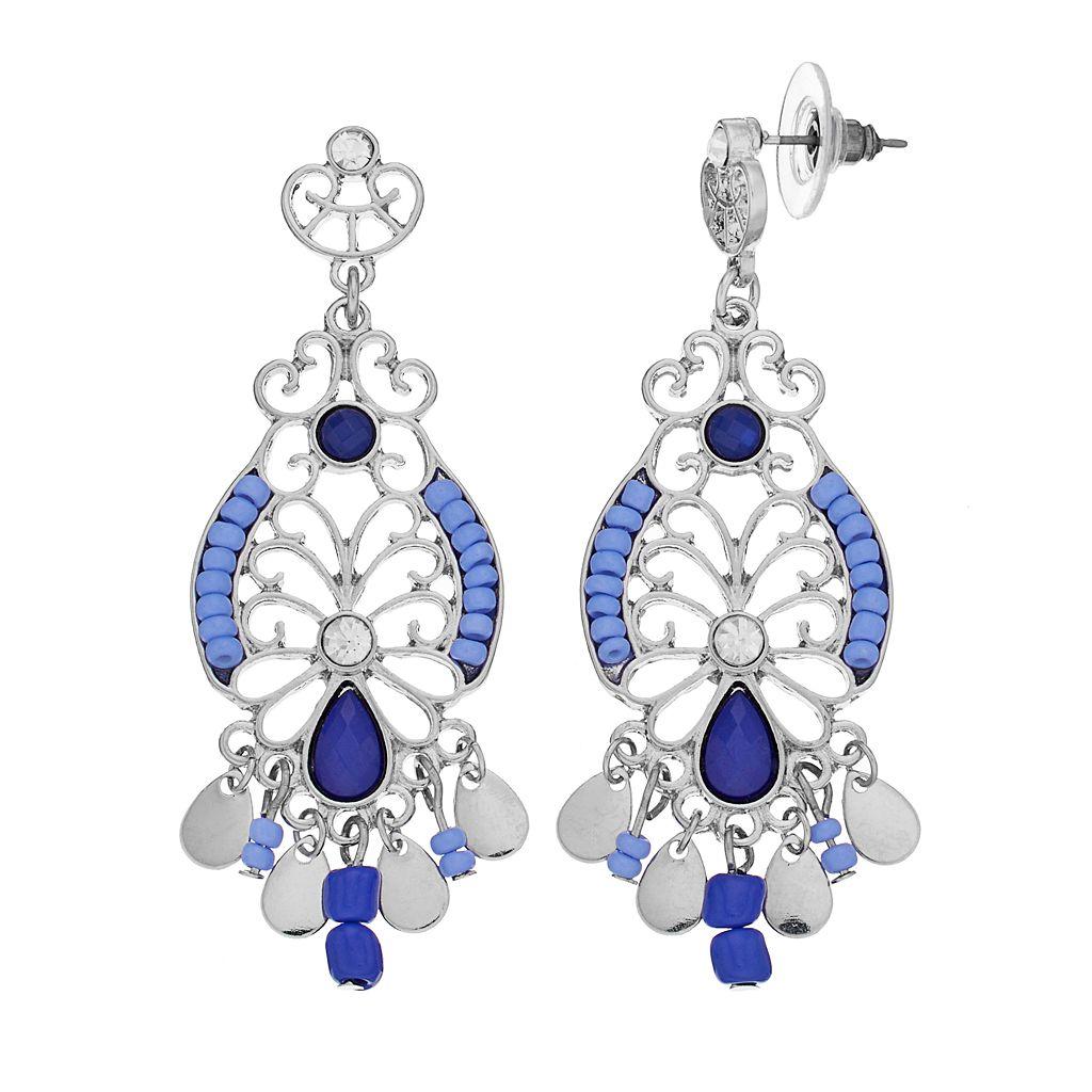 Blue Seed Bead Filigree Nickel Free Chandelier Earrings