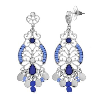 Blue Seed Bead Filigree Nickel Free Chandelier Earrings