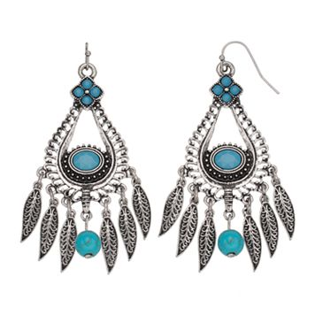 Simulated Turquoise Antiqued Nickel Free Chandelier Earrings