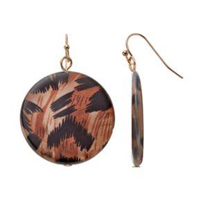 Brown Animal Print Disc Drop Earrings