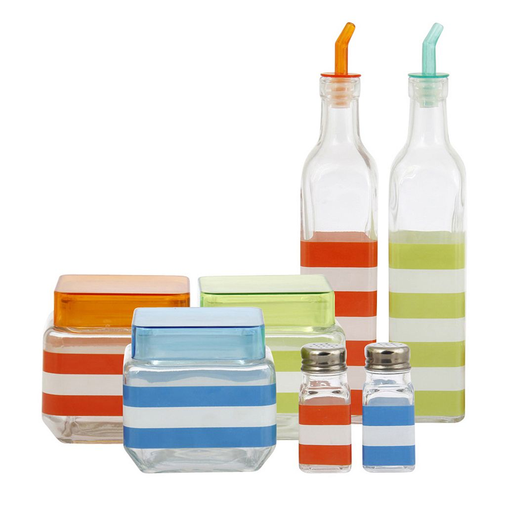 PureLife 7-pc. Glass Canister & Condiment Set