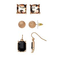 Brown Animal Print, Textured Ball & Rectangular Earring Set