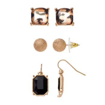 Brown Animal Print, Textured Ball & Rectangular Earring Set