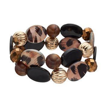 Brown Animal Print Beaded Stretch Bracelet Set