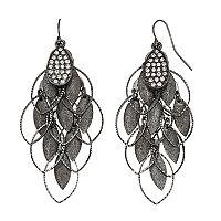 Black Marquise Nickel Free Kite Earrings