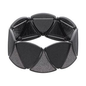 Black Glittery Triangular Link Stretch Bracelet