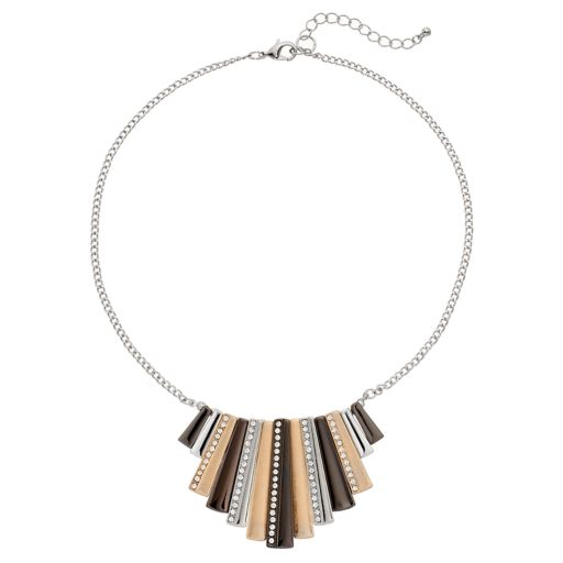 Tri Tone Graduated Stick Necklace