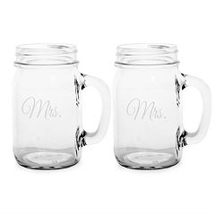 Cathy's Concepts Couples 2 pc Mason Jar Drinking Glass Set