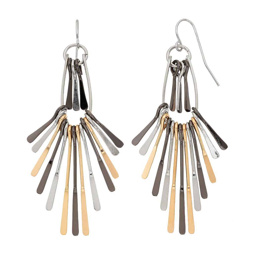 Tri Tone Paddle Fan Nickel Free Drop Earrings