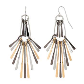Tri Tone Paddle Fan Nickel Free Drop Earrings