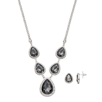 Black Faceted Teardrop Necklace & Earring Set