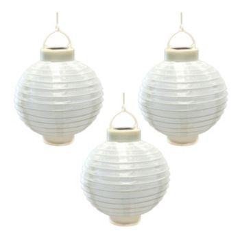 "LumaBase 8"" White Solar Lantern 3-piece Set"